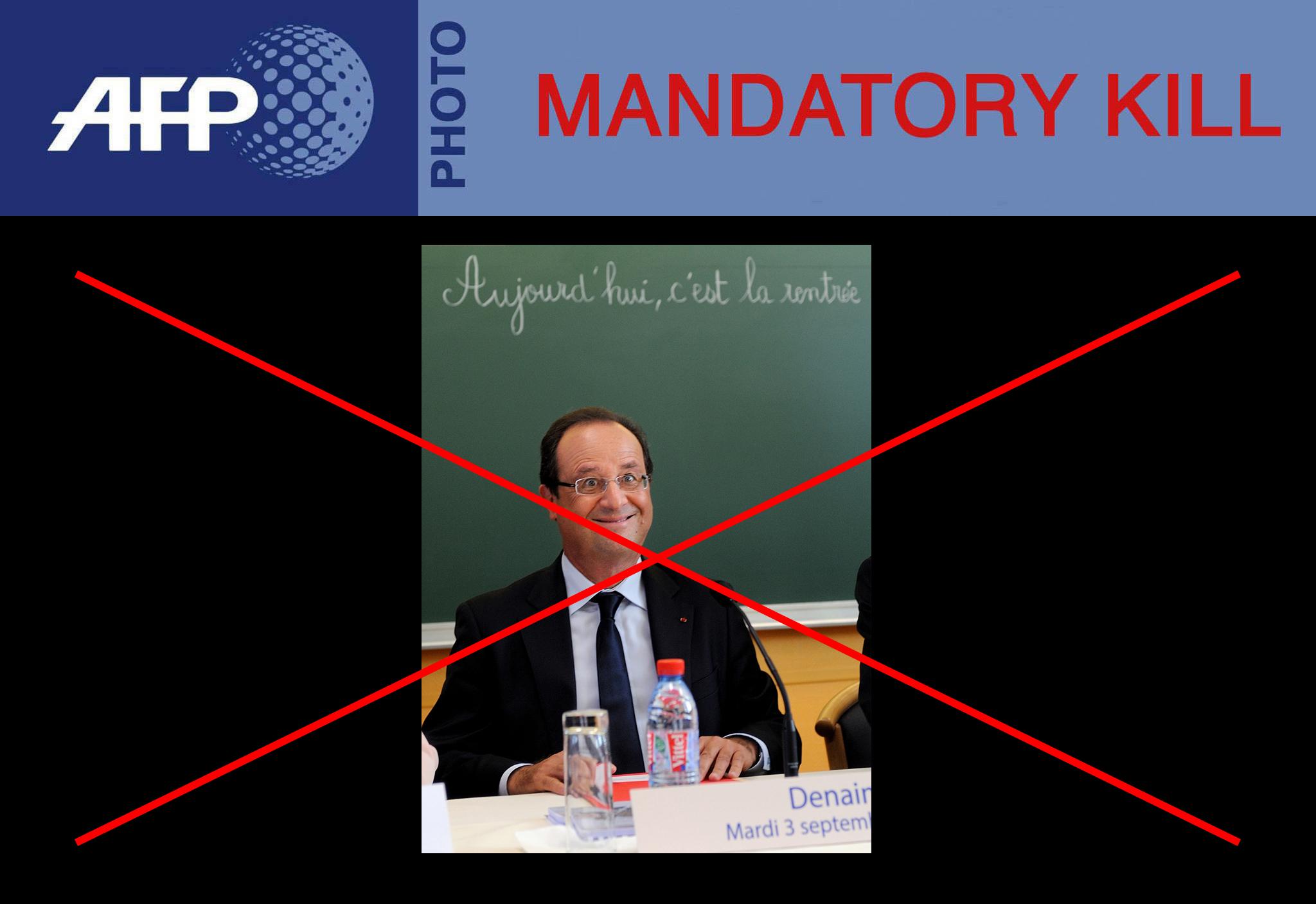 l'AFP diffuse une photo peu valorisante de François Hollande avant de se raviser et d'en demander la suppression par tous les destinataires. Effet Streisand garanti.